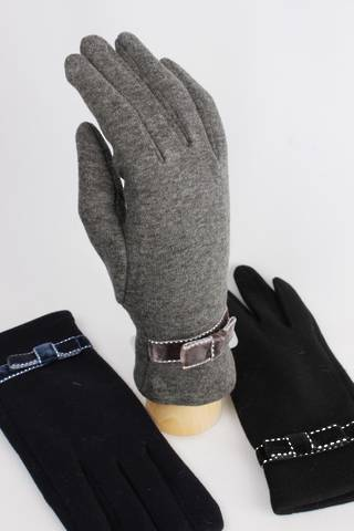 Thermal glove w bow trim BEIGE,GREY ONLY Style; S/LL4249