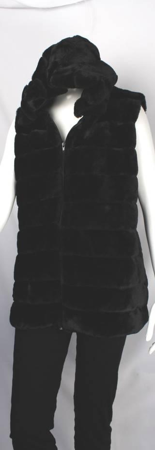 Alice & LIly faux fur hoodie vest black Style SC/4258