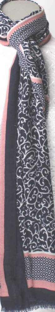 Soft brushed winter printed scarf navy Style: SC/4263NAV