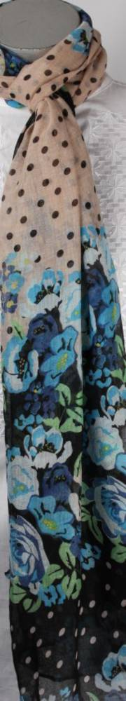 Printed  scarf floral blue Style:SC/4296/BLU