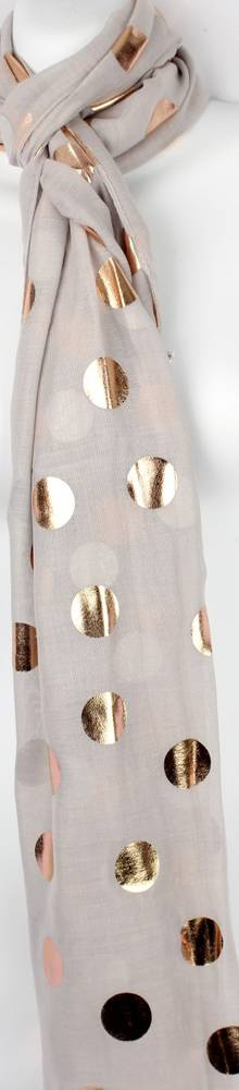 Printed foil scarf w gold spot grey scarf Style:SC/4358GRY