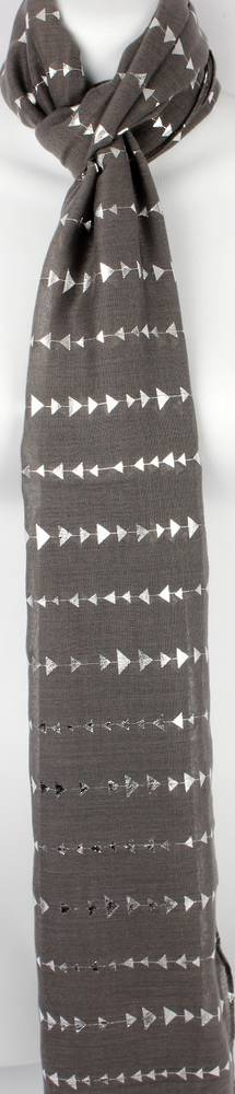 Printed foil scarf w gold arrow grey scarf Style:SC/4360/GRY