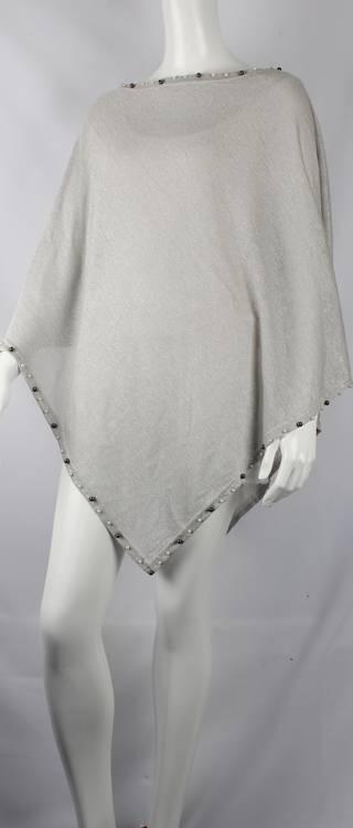Alice & Lily  plain poncho w beaded trim silver Style: SC/4381SIL