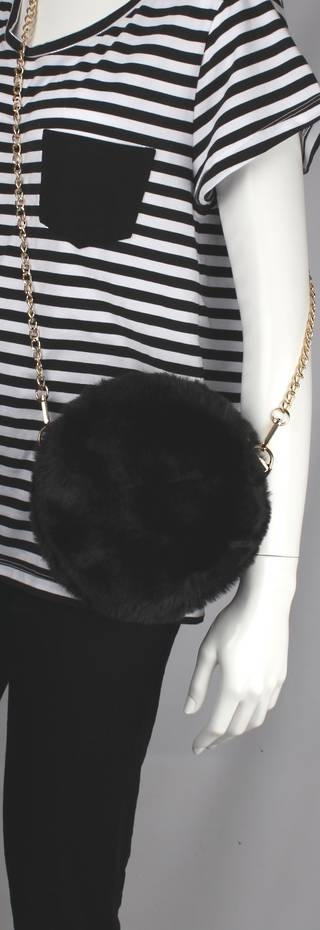 Alice & Lily fur hand bag w gold shoulder chain black STYLE: AL/4413FB/BLACK