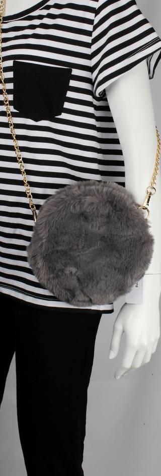 Alice & Lily fur hand bag w gold shoulder chain grey STYLE: AL/4413FB/GREY