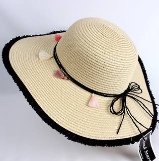 HEAD START  wide brim frayed edge braided sunhat w black band,tie and feathers   Style: HS/4479BLK