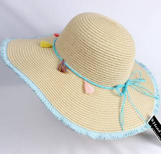 HEAD START  wide brim frayed edge braided sunhat w turquoise  band,tie and feathers   Style: HS/4479BLU