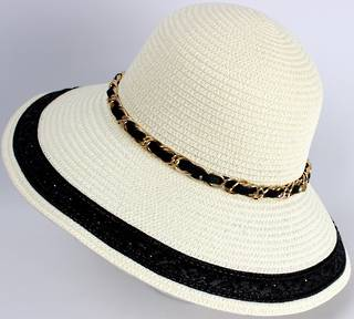 HEAD START Dome hat ivory w gold chain and black trim Style: HS/4482/BLK