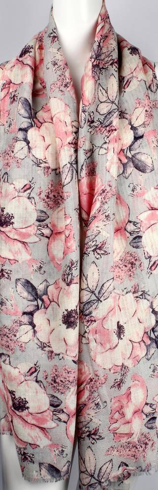 Alice & Lily printed viscose autunm/winter weight scarf floral pink Style:SC/4591/PNK