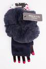 Winter ladies  fingerless faux fur glove navy Style; S/LK4616