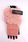 Winter ladies  fingerless faux fur glove pink Style; S/LK4616