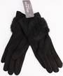 Winter ladies thermal glove w fur trim black Style; S/LK4618BLK