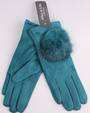 Winter ladies thermal glove w fur trim teal Style; S/LK4618TEAL