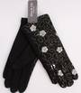 Winter ladies embroidered fabric glove black Style; S/LK4619/BLK