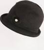 Headstart angora brimmed  cloche w fur flower black  Style : HS/4627