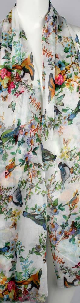 Alice & Lily printed  scarf floral birds wht Style:SC/4644WHT