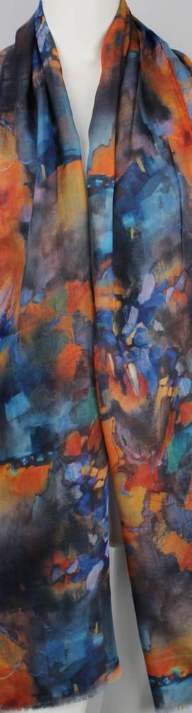 Alice & Lily printed  scarf bright abstract orange Style:SC/4648/ORA