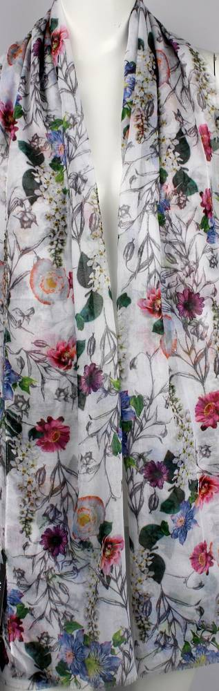 Alice & Lily printed  scarf white garden floral Style:SC/4649/WHT