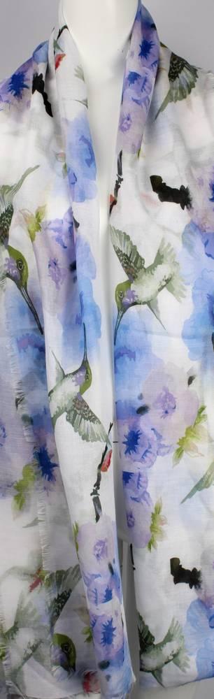 Alice & Lily printed  scarf blue hummingbird Style:SC/4656/BLU