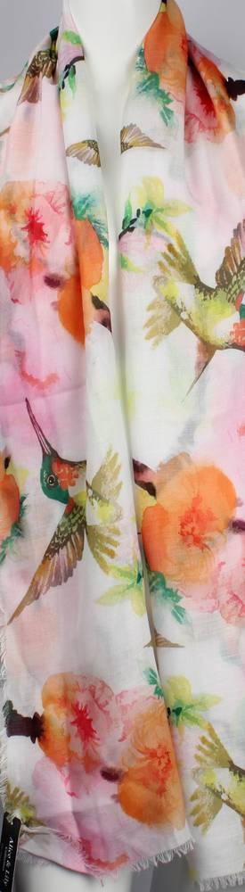 Alice & Lily printed  scarf pink hummingbird Style:SC/4656/PNK