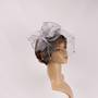 Head band crin  fascinator w feathers and net silver STYLE: HS/4675 /SIL