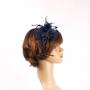 Head band crin  fascinator w feathers and beads navy STYLE: HS/4677 /NAVY