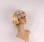 Linen clip fascinater w feathers flower silver STYLE: HS/4686/SIL