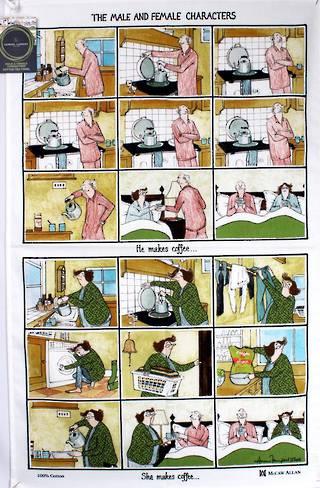 Samuel Lamont 'The male and female characters' tea towel Code : TT-692