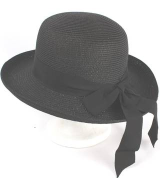 Traditional private school style, upturn,wide bow w tails braided black Style: HS/9104
