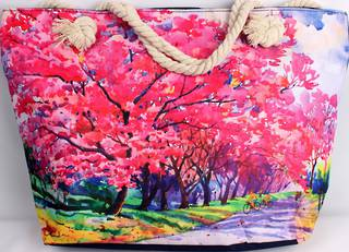 Colourful carry bag w base and rope handle 'pink trees' print Style :AL/4690