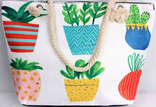 Colourful carry bag w base and rope handle 'pots' print Style :AL/4691