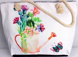 Colourful carry bag w base and rope handle 'watering can' print Style :AL/4692