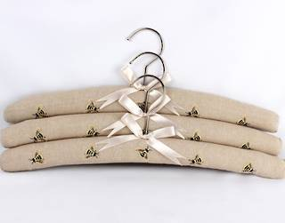 Printed padded coat hangers-set of 3 'Bees Linen' Code:EH-BEE/LIN