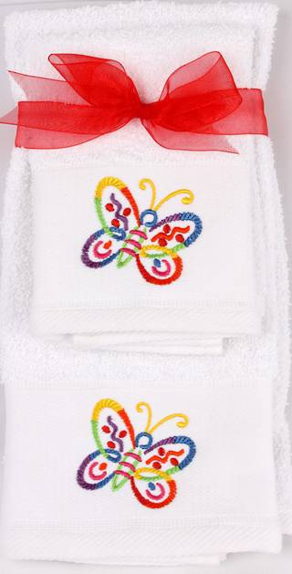 Matching Embroidered Handtowel and facecloth gift set- butterfly Code: FH-BUTT