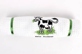Embroidered pure cotton waffle weave souvenir tea towel 'cow' Code: T/T-EMB/COW