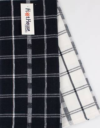 2pack tea towel set 'crossroads' navy CODE: T/T-CROSS/2PK/NAV