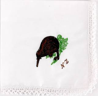 Embroidered lace edged handkerchiefs 'KIWI' Style: EHC/KIW