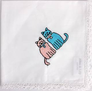 Embroidered lace handkerchiefs 'cats ' Style: EHC-CAT