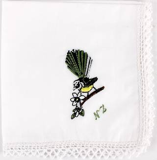 Embroidered lace edged handkerchiefs 'FANTAIL' Style: EHC/FAN