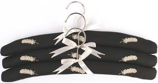 Embroidered coat hangers-set of 3 'Feather' Code:EH/FEA/BLK