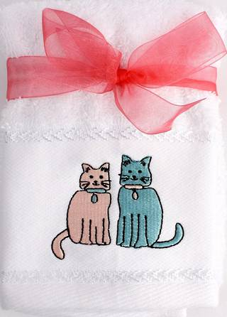 Matching Embroidered 2 facecloth gift set- Cat Code: FAC-CAT/2SET