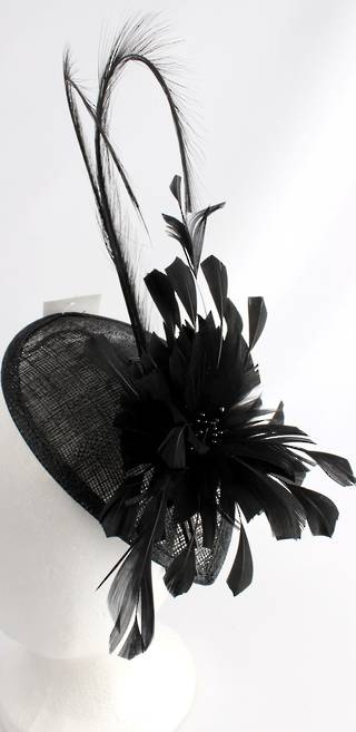 Fascinator with swooped feather and flower black Style : HS3000/BLK