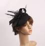 Linen headband hatinater w floral feather black STYLE: HS/4683 /BLK