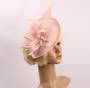 Linen headband fascinater w  bow and feather pink STYLE: HS/4684 /PIN