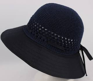 Plain crocheted cotton hat navy Style: HS/9050