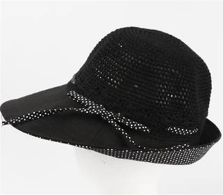 Cotton spot hat w turned up brim and bow black Code: HS/9052