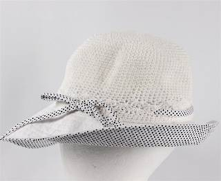 Cotton spot hat w turned up spot brim and bow white Code: HS/9052