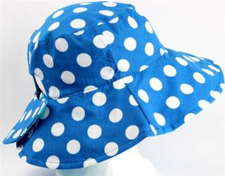 Reversible spotted ponytail hat turq/white Code: HS/5790