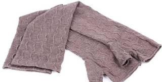Ladies 3/4 length textured fingerless  knit glove mink S/LK3257