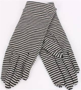 Ladies striped knit glove blk/grey/silver S/LK3232